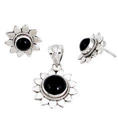 Natural black onyx 925 sterling silver pendant earrings set jewelry j50752
