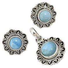 Natural blue owyhee opal 925 sterling silver pendant earrings set jewelry j6881