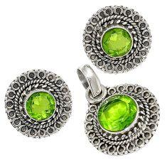 Green peridot quartz 925 sterling silver pendant earrings set jewelry j6884