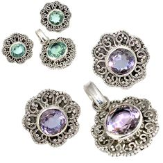 Color changeable alexandrite (lab) 925 silver pendant earrings set jewelry j6886