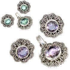 925 silver color changeable alexandrite (lab) pendant earrings set jewelry j6887