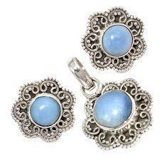 Natural blue owyhee opal 925 sterling silver pendant earrings set jewelry j6897