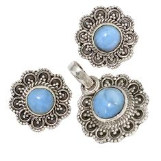 925 sterling silver natural blue owyhee opal pendant earrings set jewelry j6898