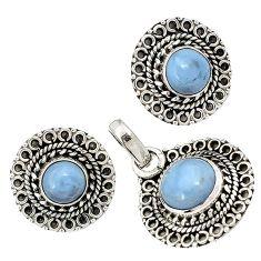Natural blue owyhee opal round 925 sterling silver pendant earrings set j6899