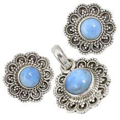 Natural blue owyhee opal 925 sterling silver pendant earrings set jewelry j6903