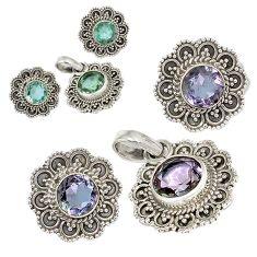 Color changeable alexandrite (lab) 925 silver pendant earrings set j6906