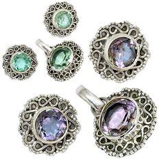 Color changeable alexandrite (lab) 925 silver pendant earrings set j6907