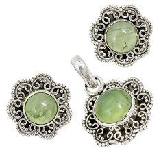Natural green prehnite 925 sterling silver pendant earrings set jewelry j6909