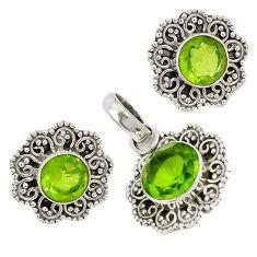 Green peridot quartz 925 sterling silver pendant earrings set jewelry j6910