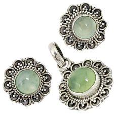 Natural green prehnite 925 sterling silver pendant earrings set jewelry j6911