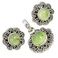 Natural green prehnite 925 sterling silver pendant earrings set jewelry j6921