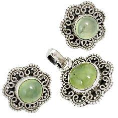 925 sterling silver natural green prehnite pendant earrings set jewelry j6922