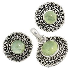 Natural green prehnite 925 sterling silver pendant earrings set jewelry j6933
