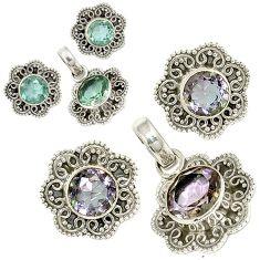 Color changeable alexandrite (lab) 925 silver pendant earrings set jewelry j6936