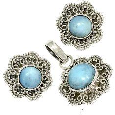 Natural blue owyhee opal 925 sterling silver pendant earrings set jewelry j6937