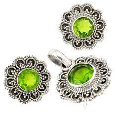 Green peridot quartz 925 sterling silver pendant earrings set jewelry j6938