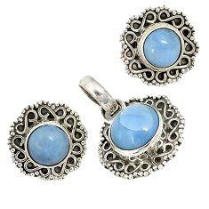 Natural blue owyhee opal 925 sterling silver pendant earrings set jewelry j6939