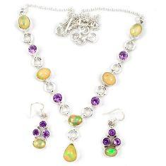 925 silver natural multi color ethiopian opal earrings necklace set j7090
