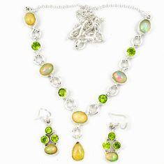 Natural multicolor ethiopian opal peridot 925 silver earrings necklace set j7091