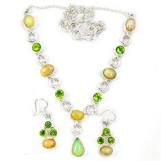 925 silver natural multicolor ethiopian opal peridot earrings necklace set j7092