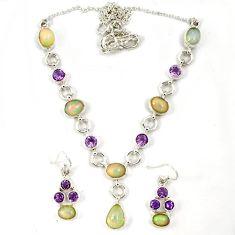 Multi color ethiopian opal amethyst 925 silver earrings necklace set j7093