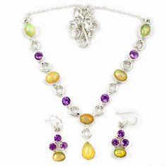925 silver multi color ethiopian opal amethyst earrings necklace set j7094