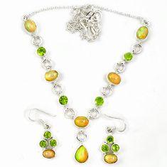 Natural multi color ethiopian opal peridot silver earrings necklace set j7095
