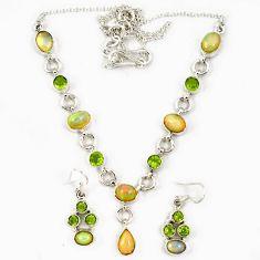 925 silver multi color ethiopian opal peridot earrings necklace set j7096