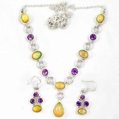 Natural multicolor ethiopian opal amethyst silver earrings necklace set j7097