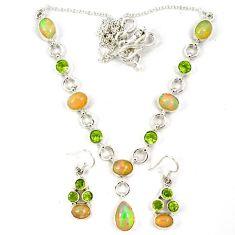 Natural multicolor ethiopian opal peridot 925 silver earrings necklace set j7098
