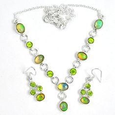 Natural multi color ethiopian opal 925 silver earrings necklace set k33846