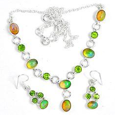 Natural multi color ethiopian opal 925 silver earrings necklace set k33847