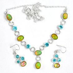 Natural multi color ethiopian opal 925 silver earrings necklace set k33848