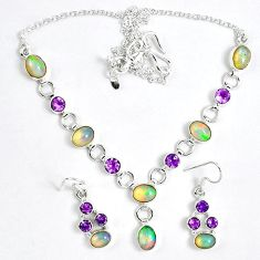 Natural multi color ethiopian opal 925 silver earrings necklace set k33849