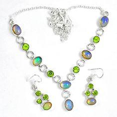 Natural multi color ethiopian opal 925 silver earrings necklace set k33851