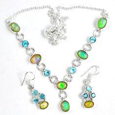 Natural multi color ethiopian opal 925 silver earrings necklace set k33852