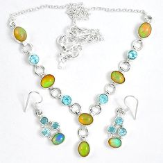 925 silver natural multi color ethiopian opal earrings necklace set k33853