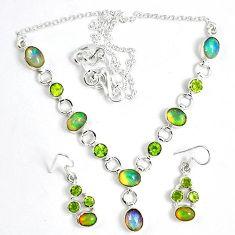 Natural multi color ethiopian opal 925 silver earrings necklace set k33854