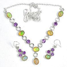 Natural multi color ethiopian opal 925 silver earrings necklace set k33855