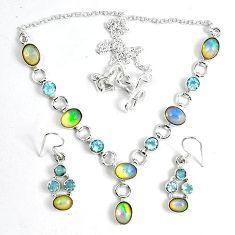 925 silver natural multi color ethiopian opal earrings necklace set k33856