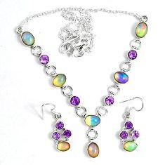 Natural ethiopian opal 925 sterling silver earrings necklace set k33857