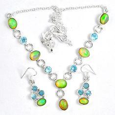 925 sterling silver natural ethiopian opal earrings necklace set jewelry k33858