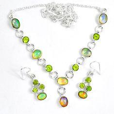Natural multi color ethiopian opal 925 silver earrings necklace set k33859