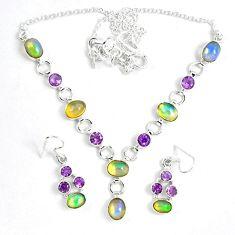 Natural multi color ethiopian opal 925 silver earrings necklace set k33860