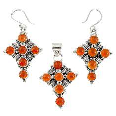 Natural orange carnelian 925 silver holy cross pendant earrings set k35564