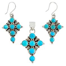 Natural blue magnesite 925 silver holy cross pendant earrings set k35572