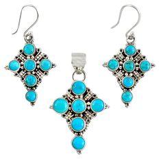 925 silver natural blue magnesite round holy cross pendant earrings set k35574