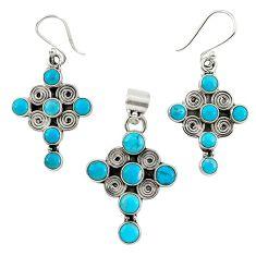 Natural blue magnesite 925 sterling silver cross pendant earrings set k35582