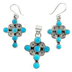 925 sterling silver natural blue magnesite cross pendant earrings set k35583
