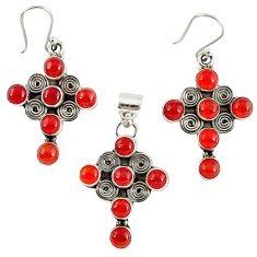 Natural honey onyx 925 sterling silver cross pendant earrings set k35598